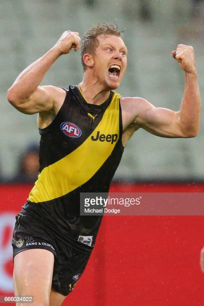 Jack Riewoldt of the Tigers celebrates a goal that sealed the match during the round three AFL match between the Richmond Tigers and the West Coast...