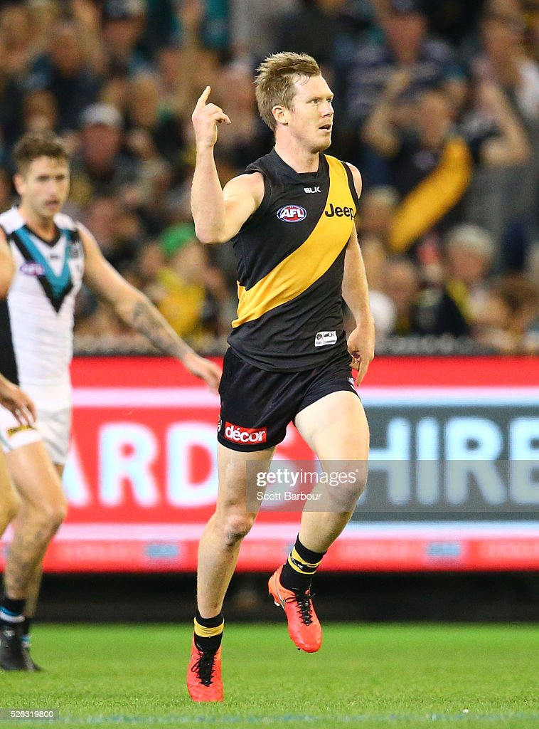 <a gi-track='captionPersonalityLinkClicked' href=/galleries/search?phrase=Jack+Riewoldt&family=editorial&specificpeople=2327975 ng-click='$event.stopPropagation()'>Jack Riewoldt</a> of the Tigers celebrates after kicking a goal during the round six AFL match between the Richmond Tigers and the Port Adelaide Power at Melbourne Cricket Ground on April 30, 2016 in Melbourne, Australia.