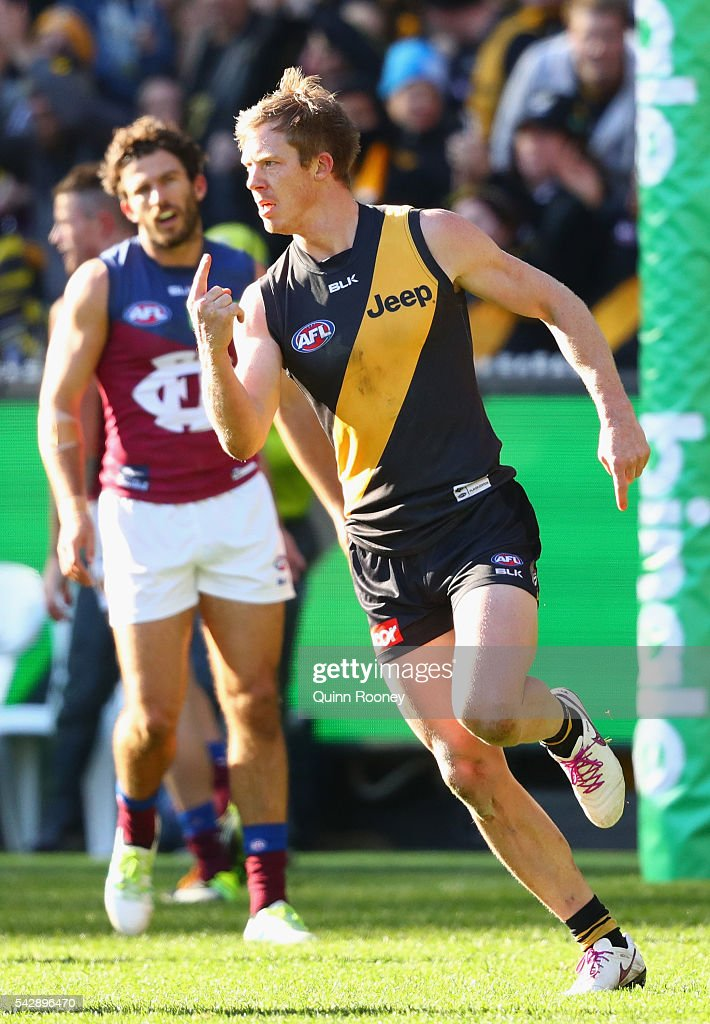<a gi-track='captionPersonalityLinkClicked' href=/galleries/search?phrase=Jack+Riewoldt&family=editorial&specificpeople=2327975 ng-click='$event.stopPropagation()'>Jack Riewoldt</a> of the Tigers celebrates after kicking a goal during the round 14 AFL match between the Richmond Tigers and the Brisbane Lions at Melbourne Cricket Ground on June 25, 2016 in Melbourne, Australia.