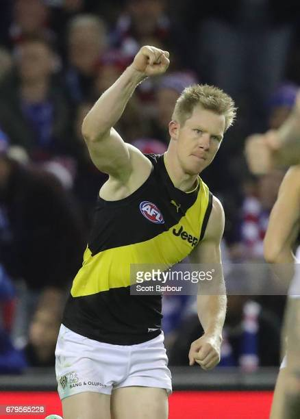 Jack Riewoldt of the Tigers celebrates after kicking a goal during the round seven AFL match between the Western Bulldogs and the Richmond Tigers at...