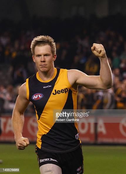 Jack Riewoldt of the Tigers celebrates after the Tigers defeated the Saints at the round 10 AFL match between the St Kilda Saints and the Richmond...
