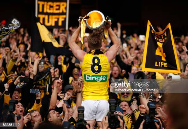 Jack Riewoldt of the Tigers celebrates during the 2017 Toyota AFL Grand Final match between the Adelaide Crows and the Richmond Tigers at the...
