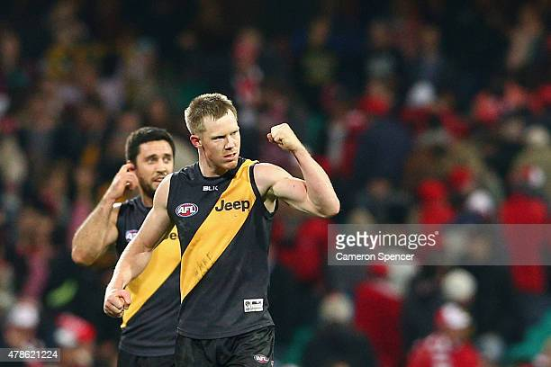 Jack Riewoldt of the Tigers celebrates during the round 13 AFL match between the Sydney Swans and the Richmond Tigers at SCG on June 26 2015 in...