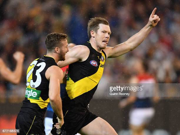 Jack Riewoldt of the Tigers celebrates kicking a goal during the round five AFL match between the Richmond Tigers and the Melbourne Demons at...