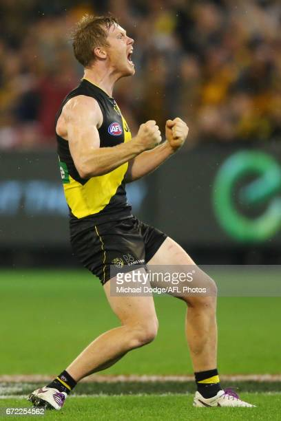 Jack Riewoldt of the Tigers celebrates the win on the final siren during the round five AFL match between the Richmond Tigers and the Melbourne...
