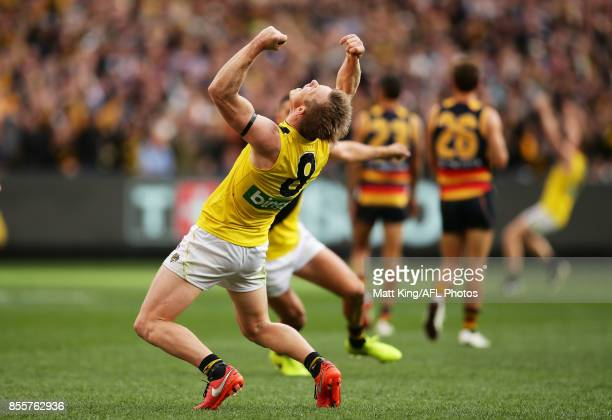 Jack Riewoldt of the Tigers celebrates victory at the final siren during the 2017 AFL Grand Final match between the Adelaide Crows and the Richmond...