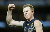 Jack Riewoldt of the Tigers celebrates winning the round 18 AFL match between the Hawthorn Hawks and the Richmond Tigers at Melbourne Cricket Ground...
