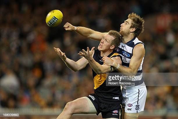 Jack Riewoldt of the Tigers flies for a mark during the round six AFL match between the Richmond Tigers and the Geelong Cats at Melbourne Cricket...