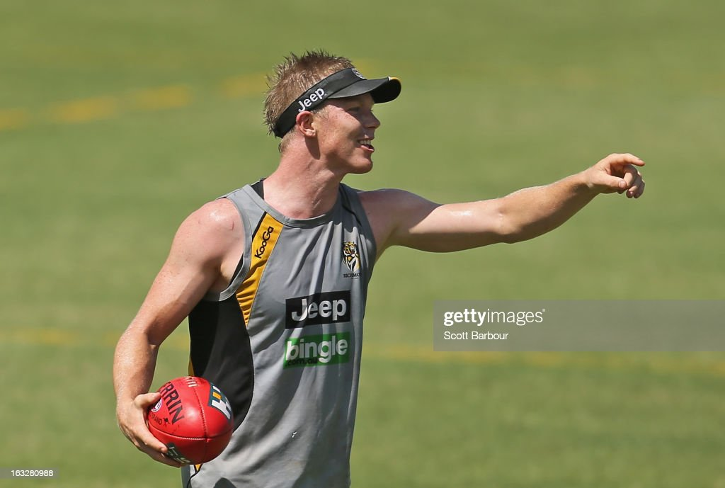 <a gi-track='captionPersonalityLinkClicked' href=/galleries/search?phrase=Jack+Riewoldt&family=editorial&specificpeople=2327975 ng-click='$event.stopPropagation()'>Jack Riewoldt</a> of the Tigers gestures during a Richmond Tigers AFL training session at ME Bank Centre on March 7, 2013 in Melbourne, Australia.