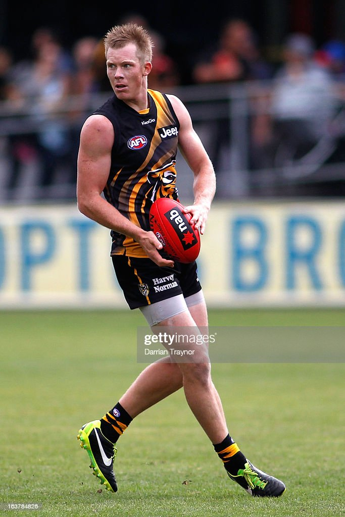 Jack Riewoldt of the Tigers holds the ball during the AFL practice match between the Richmond Tigers and the Western Bulldogs at Visy Park on March 16, 2013 in Melbourne, Australia.
