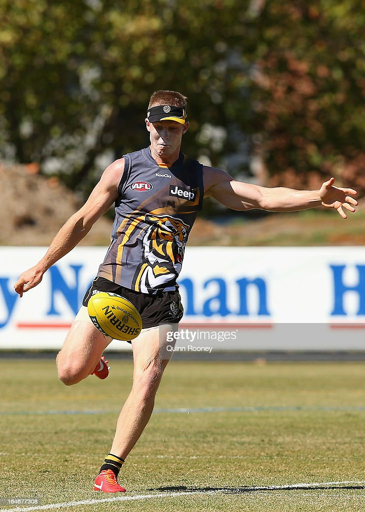 Jack Riewoldt of the Tigers kicks during a Richmond Tigers AFL training session at ME Bank Centre on March 26, 2013 in Melbourne, Australia.