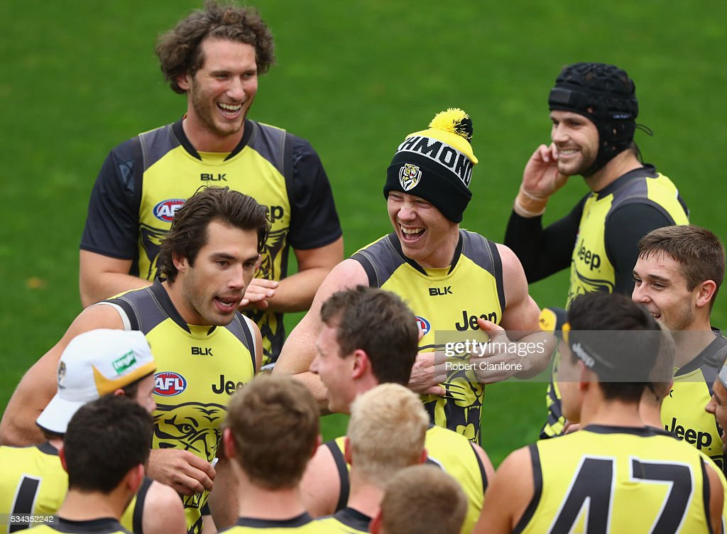 <a gi-track='captionPersonalityLinkClicked' href=/galleries/search?phrase=Jack+Riewoldt&family=editorial&specificpeople=2327975 ng-click='$event.stopPropagation()'>Jack Riewoldt</a> of the Tigers laughs as team mate Alex Rance tells a joke during a Richmond Tigers AFL training session at ME Bank Centre on May 26, 2016 in Melbourne, Australia.