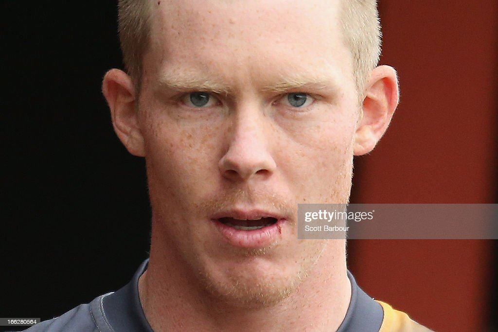 <a gi-track='captionPersonalityLinkClicked' href=/galleries/search?phrase=Jack+Riewoldt&family=editorial&specificpeople=2327975 ng-click='$event.stopPropagation()'>Jack Riewoldt</a> of the Tigers looks on during a Richmond Tigers AFL Training session at ME Bank Centre on April 11, 2013 in Melbourne, Australia.