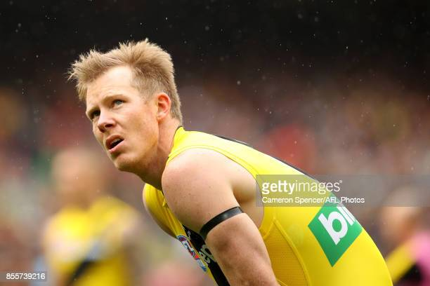 Jack Riewoldt of the Tigers looks on during the 2017 AFL Grand Final match between the Adelaide Crows and the Richmond Tigers at Melbourne Cricket...