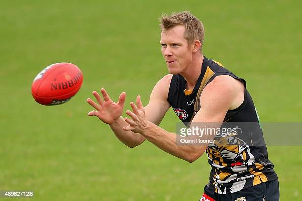 Jack Riewoldt of the Tigers marks during a Richmond Tigers AFL training session at ME Bank Centre on April 14 2015 in Melbourne Australia