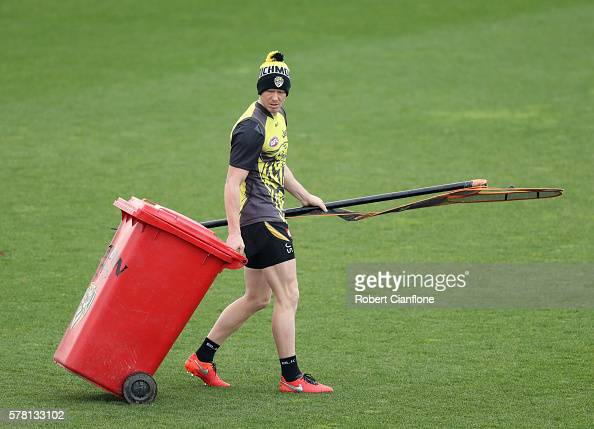 Jack Riewoldt of the Tigers prepares for a Richmond Tigers AFL training session at Punt Road Oval on July 21 2016 in Melbourne Australia