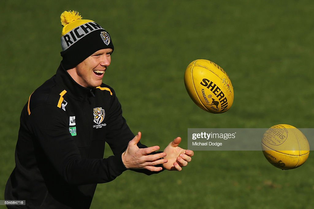 Jack Riewoldt of the Tigers reacts during a Richmond Tigers AFL training session at ME Bank Centre on May 27, 2016 in Melbourne, Australia.