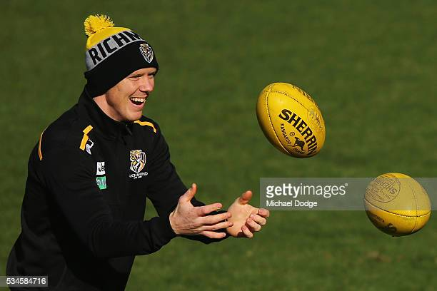 Jack Riewoldt of the Tigers reacts during a Richmond Tigers AFL training session at ME Bank Centre on May 27 2016 in Melbourne Australia