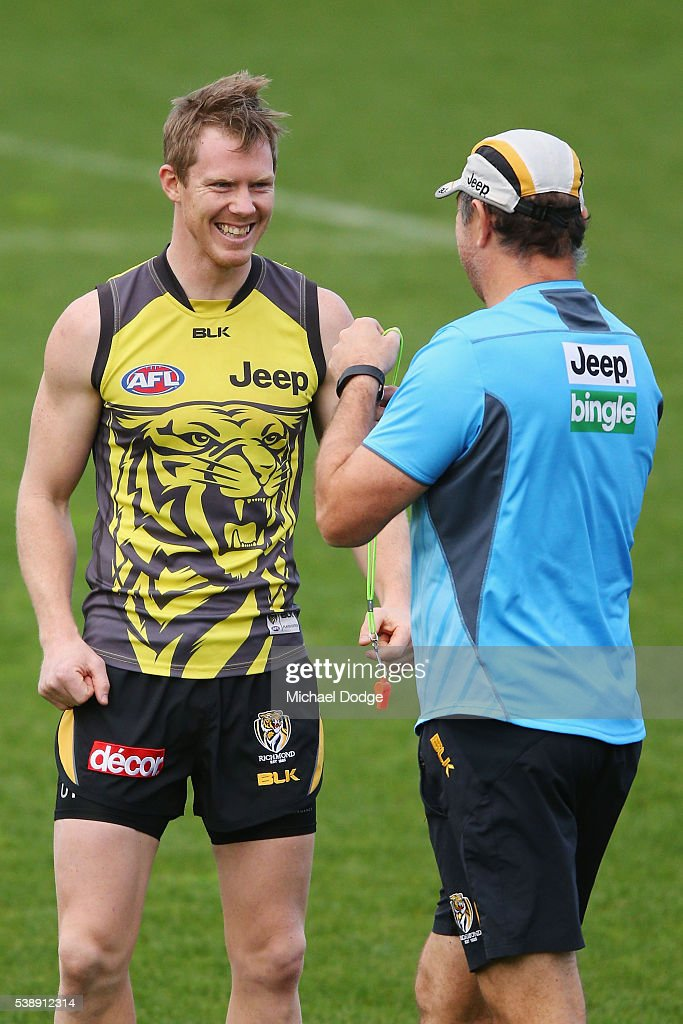 Jack Riewoldt of the Tigers reacts with assistant coach Brendon Lade during a Richmond Tigers AFL training session on June 9 2016 in Melbourne...