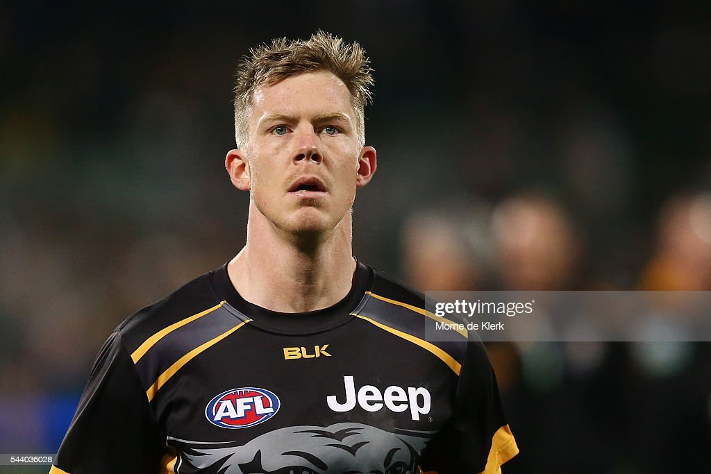 <a gi-track='captionPersonalityLinkClicked' href=/galleries/search?phrase=Jack+Riewoldt&family=editorial&specificpeople=2327975 ng-click='$event.stopPropagation()'>Jack Riewoldt</a> of the Tigers warms up before the round 15 AFL match between the Port Adelaide Power and the Richmond Tigers at Adelaide Oval on July 1, 2016 in Adelaide, Australia.