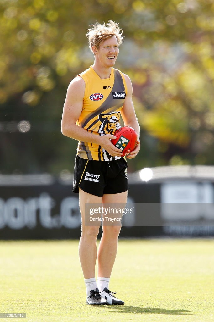 Jack Riewoldt reacts during a Richmond Tigers AFL training session at ME Bank Centre on March 6, 2014 in Melbourne, Australia.
