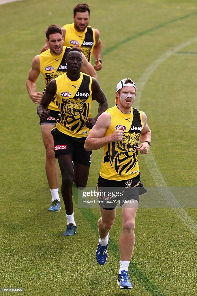 Jack Riewoldt runs during a Richmond Tigers AFL training session at ME Bank Centre on January 9, 2017 in Melbourne, Australia.