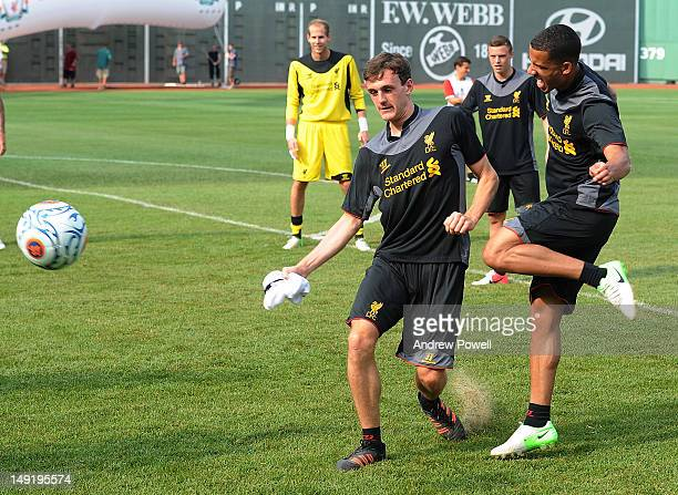 Jack Robinson and Nathan Eccleston of Liverpool in action during a training session at Fenway Park on July 24 2012 in Boston Massachusetts