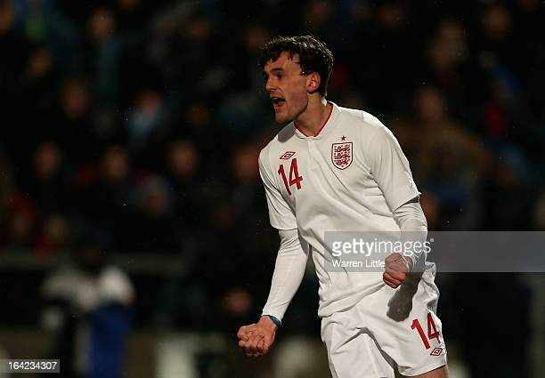 Jack Robinson of England celebrates scoring a goal during the International match between England U21 and Romania U21 at Adams Park on March 21 2013...