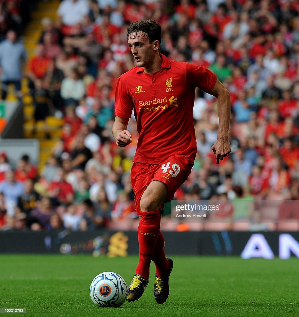 Jack Robinson of Liverpool in action during the Pre Season Friendly between Liverpool and Bayer Leverkusen at Anfield on August 12, 2012 in Liverpool, England.