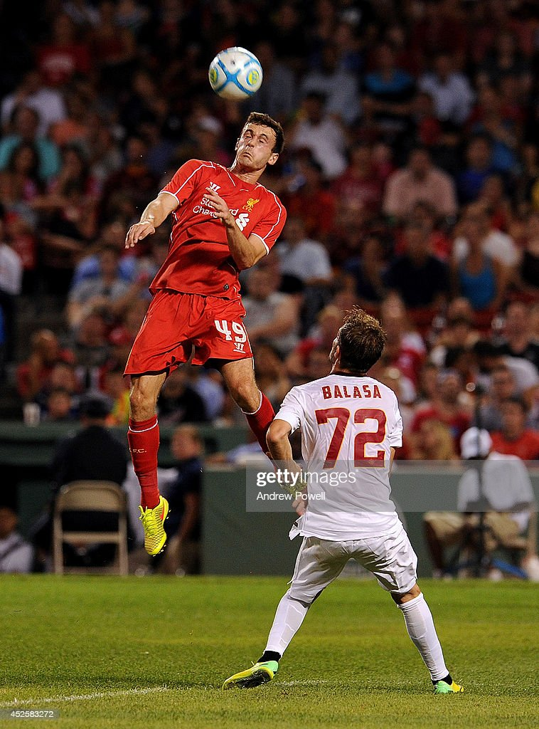 Jack Robinson of Liverpool in action during the pre-season friendly match between Liverpool FC and AS Roma at Fenway Park on July 23, 2014 in Boston, Massachusetts.