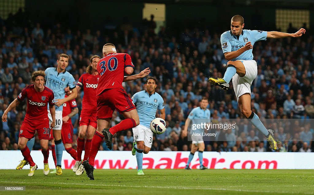 Jack Rodwell of Manchester City shoots at goal during the Barclays Premier League match between Manchester City and West Bromwich Albion at the Etihad Stadium on May 07, 2013 in Manchester, England.