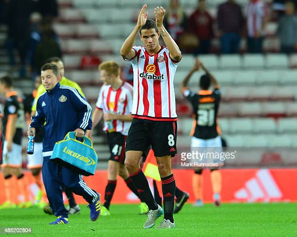 Jack Rodwell of Sunderland applauds the support from the home crowd as he leaves the pitch during the Capital One Cup Second Round match between...