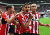 Jack Rodwell of Sunderland celebrates scoring his goal during the Barclays Premier League match between Sunderland and Manchester United at Stadium...