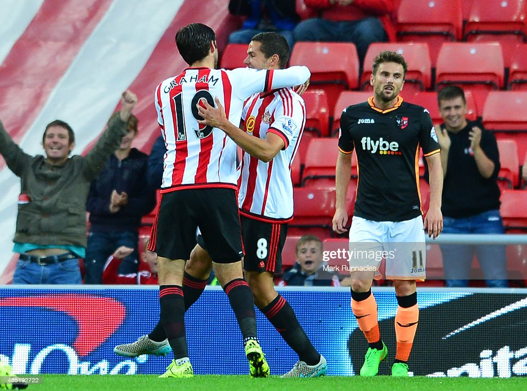 Jack Rodwell of Sunderland celebrates scoring the openign goal with team mate Danny Graham during the Capital One Cup Second Round match between...