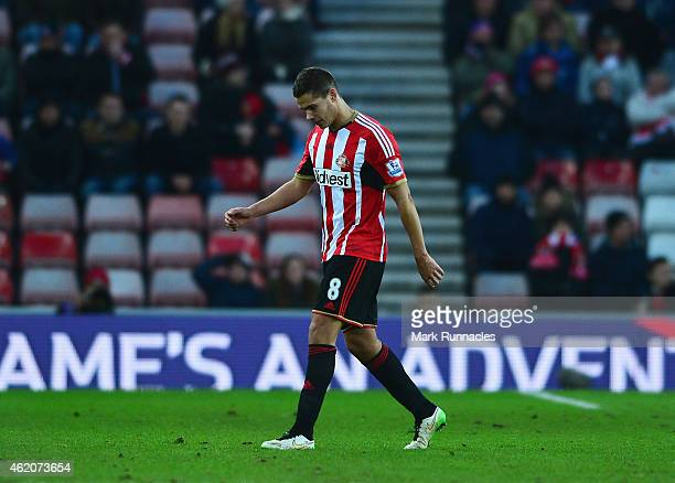 Jack Rodwell of Sunderland leaves the field after being sent off during the FA Cup Fourth Round match between Sunderland and Fulham at Stadium of...