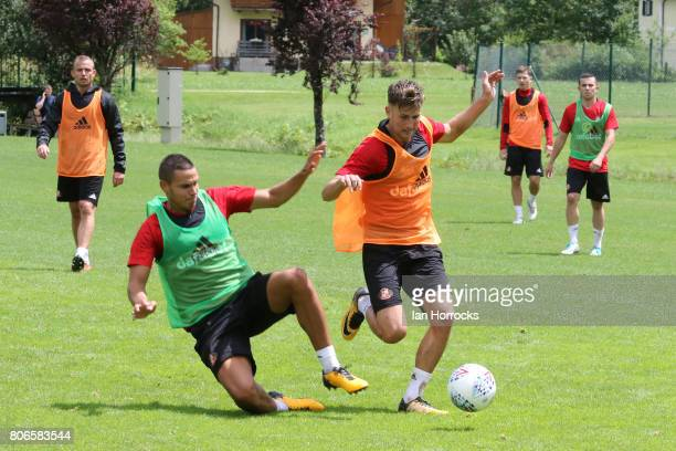 Jack Rodwell tackles Ethan Robson during a Sunderland AFC PreSeason training camp on July 3 2017 in Obertraun Austria