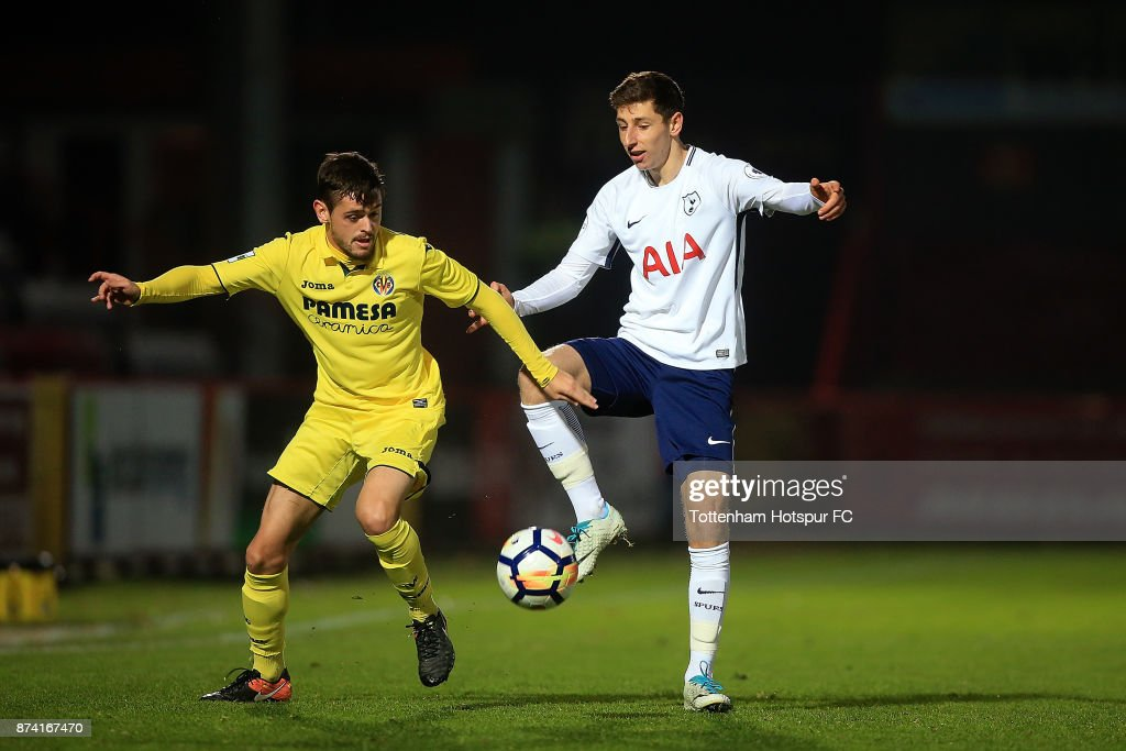 Jack Roles of Tottenham and Xavier Quintilla of Villarreal battle for possession during the Premier League International Cup match between Tottenham Hotspur and Villarreal at The Lamex Stadium on November 14, 2017 in Stevenage, England.