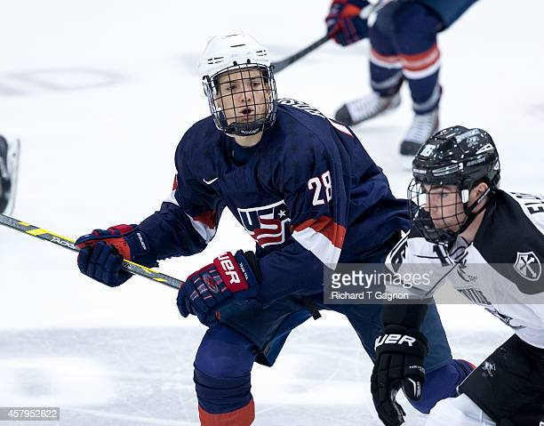 Jack Roslovic of the US National Under18 Team skates during exhibition NCAA hockey against the Providence College Friars at Schneider Arena on...