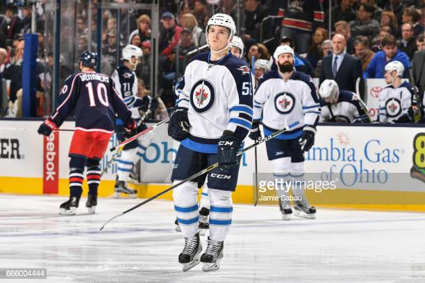 Jack Roslovic of the Winnipeg Jets skates against the Columbus Blue Jackets on April 6 2017 at Nationwide Arena in Columbus Ohio