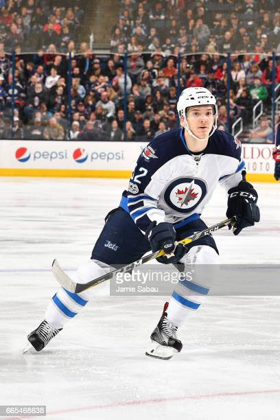 Jack Roslovic of the Winnipeg Jets skates during the second period of a game against the Columbus Blue Jackets on April 6 2017 at Nationwide Arena in...