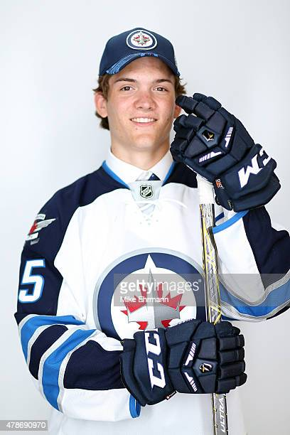 Jack Roslovic poses for a portrait after being selected 25th overall by the Winnipeg Jets during the 2015 NHL Draft at BBT Center on June 26 2015 in...