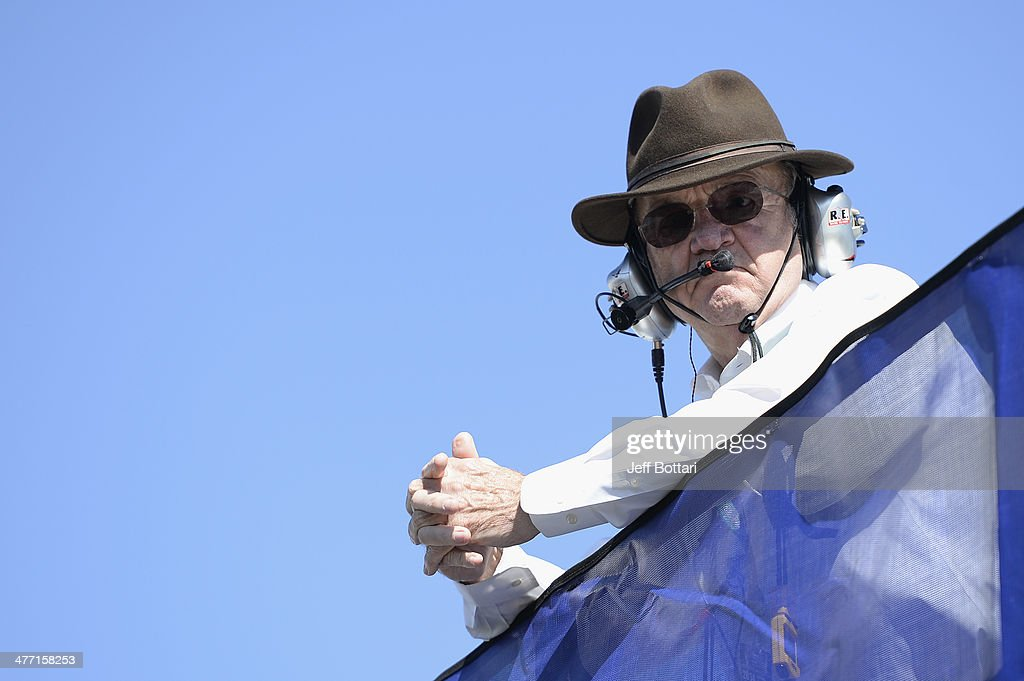 <a gi-track='captionPersonalityLinkClicked' href=/galleries/search?phrase=Jack+Roush&family=editorial&specificpeople=260209 ng-click='$event.stopPropagation()'>Jack Roush</a>, co-owner of Roush-Fenway Racing, stands on top of a team hauler during practice for the NASCAR Nationwide Series Boyd Gaming 300 at Las Vegas Motor Speedway on March 7, 2014 in Las Vegas, Nevada.