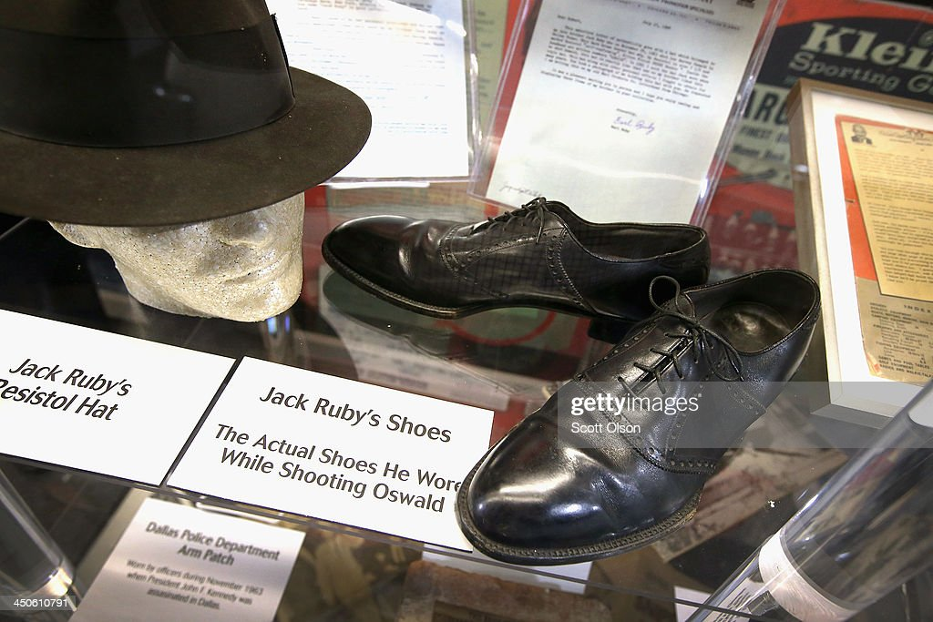 Jack Ruby's hat and the shoes he was wearing when he shot and killed Lee Harvey Oswald, accused assassin of President John F. Kennedy, is displayed at the Historic Auto Attractions museum on November 19, 2013 in Roscoe, Illinois. The museum has a large collection of items from Kennedy's life and death on display. It has been fifty years since John F. Kennedy was assassinated on November 22, 1963.