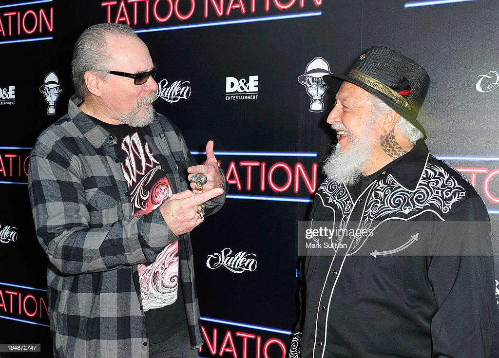 Jack Rudy (L) and Charlie Cartwright attend the premiere of 'Tattoo Nation' at ArcLight Cinemas on March 28, 2013 in Hollywood, California.