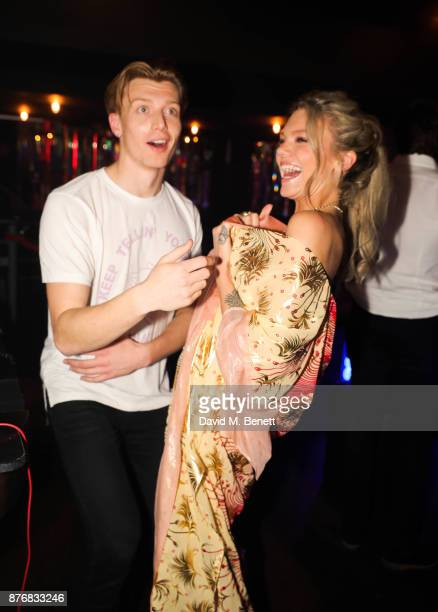Jack Saunders and Becca Dudley attend the launch of the Skinnydip x MTV collection at Ballie Ballerson on November 20 2017 in London England