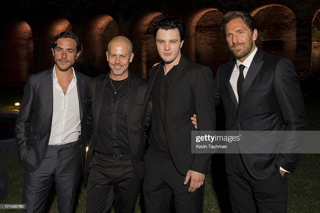 Jack Savoretti, designer Italo Zucchelli, actor Michael Pitt and Henrik Lundqvist attend the dinner to celebrate Italo Zucchelli's ten years as Calvin Klein Collection's mens creative director on June 23, 2013 in Milan, Italy.