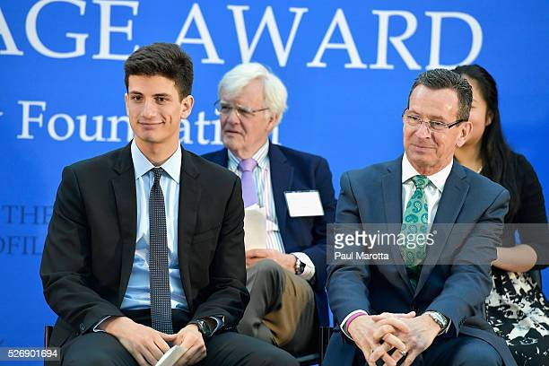 Jack Schlossberg Al Hunt and Connecticut Governor Dannel Malloy attend the the 2016 John F Kennedy Profile in Courage Award Ceremony at The John F...