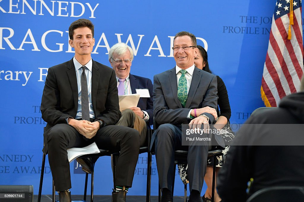 Jack Schlossberg, Al Hunt and Connecticut Governor Dannel Malloy (D) attend the the 2016 John F. Kennedy Profile in Courage Award Ceremony at The John F. Kennedy Presidential Library And Museum on May 1, 2016 in Boston, Massachusetts. In 2015 following the Paris terrorist attacks, Governor Malloy defended the U.S. resettlement of Syrian refugees and and personally welcomed a family of Syrian refugees to New Haven, Ct. after they had been turned away by the state of Indiana.