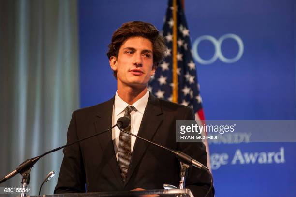 Jack Schlossberg grandson of the late US president John F Kennedy speaks to guests before former US president Barack Obama received the 2017 John F...