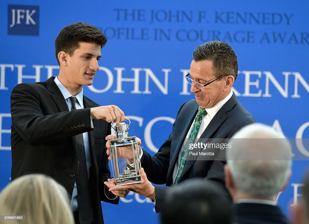 Jack Schlossberg presents Connecticut Governor Dannel Malloy (D) with the 2016 John F. Kennedy Profile in Courage Award at The John F. Kennedy Presidential Library And Museum on May 1, 2016 in Boston, Massachusetts. In 2015 following the Paris terrorist attacks, Governor Malloy defended the U.S. resettlement of Syrian refugees and and personally welcomed a family of Syrian refugees to New Haven, Ct. after they had been turned away by the state of Indiana.